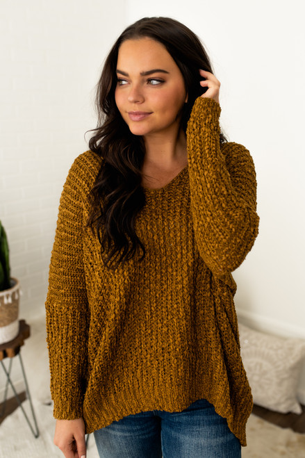 All the Cozy Textured V-Neck Sweater - Caramel