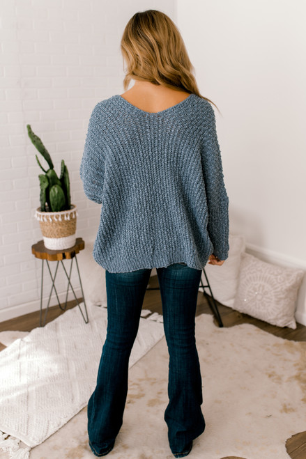 All the Cozy Textured V-Neck Sweater - Dusty Blue