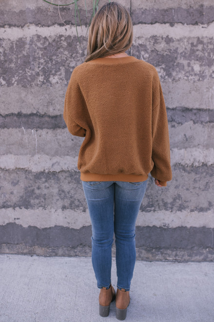 V-Neck Soft Boucle Sweater - Caramel - FINAL SALE