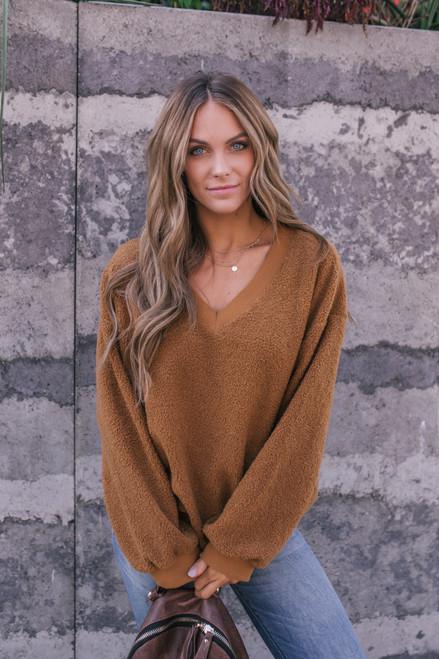 V-Neck Soft Boucle Sweater - Caramel