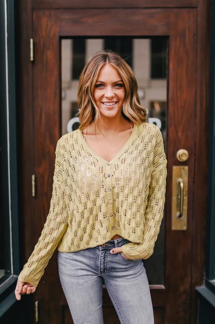 Button Down Crochet Cardi - Lime