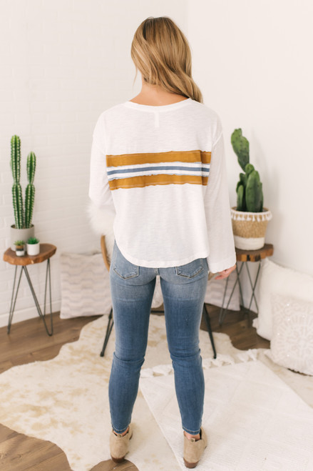 Raw Edge Striped Detail Top - Ivory  - FINAL SALE