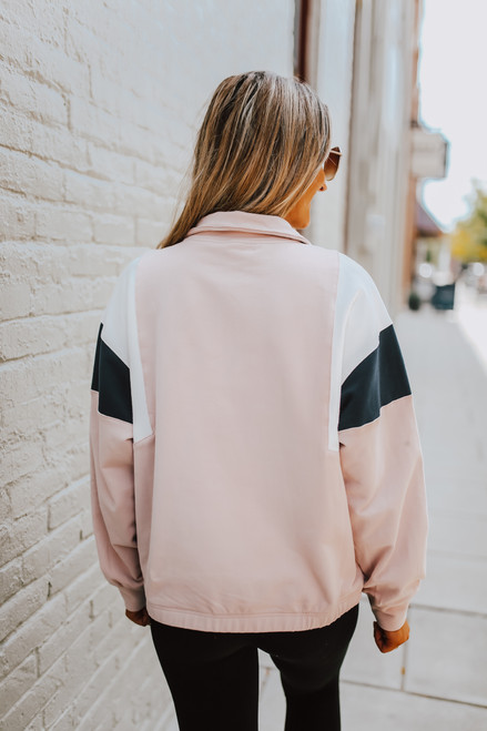 Colorblock Zip Up Pullover - Pink/Navy/White - FINAL SALE