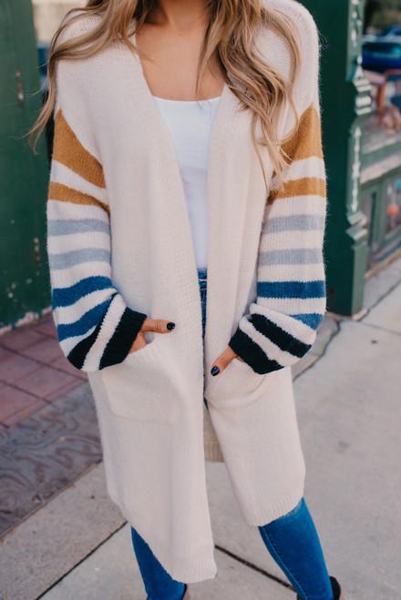Striped Sleeve Pocket Cardigan - Ivory Multi - FINAL SALE