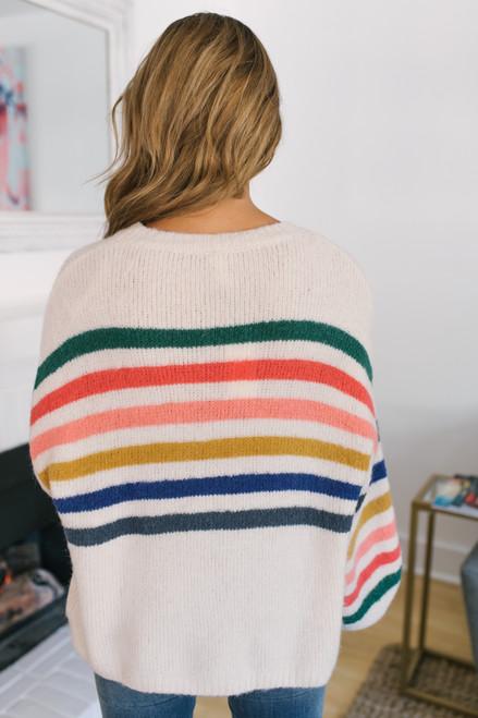 Rainbow Striped Sweater - Oatmeal