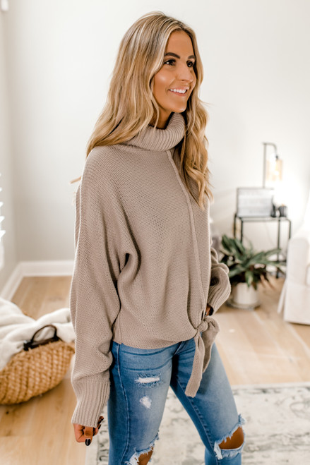 Turtleneck Knotted Sweater - Stone