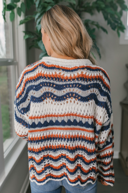 Scalloped Crochet Striped Sweater - Ivory Multi