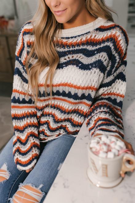 Scalloped Crochet Striped Sweater - Ivory Multi