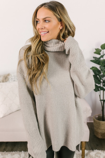 Turtleneck Ribbed Detail Sweater - Mocha