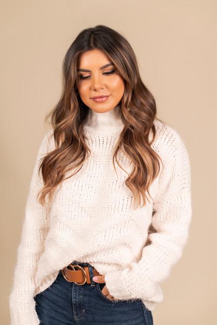 Mock Neck Chevron Chenille Sweater - Cream