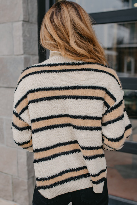 Mock Neck Striped Sweater - Natural Combo