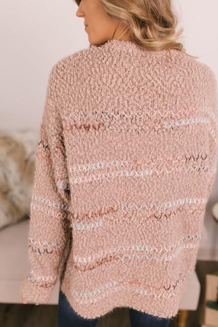 Stitched Stripe Popcorn Sweater - Mocha Combo