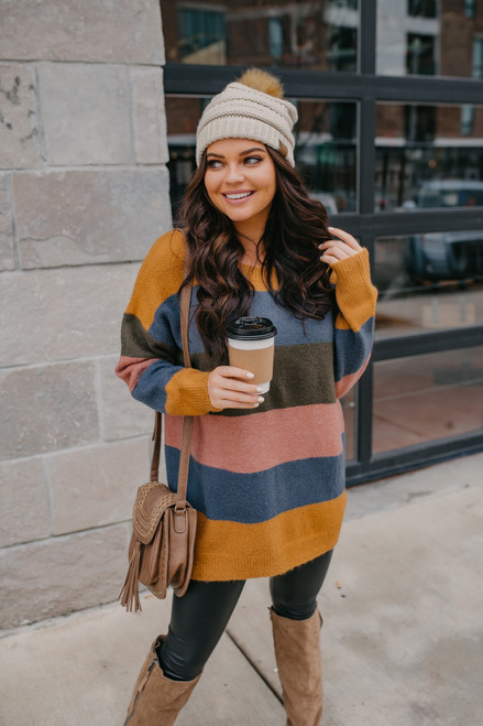 Multi Stripe Sweater Dress - Mustard Combo