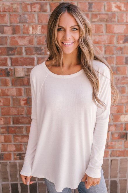 Raglan Sleeve Ribbed Knit Top - Ivory