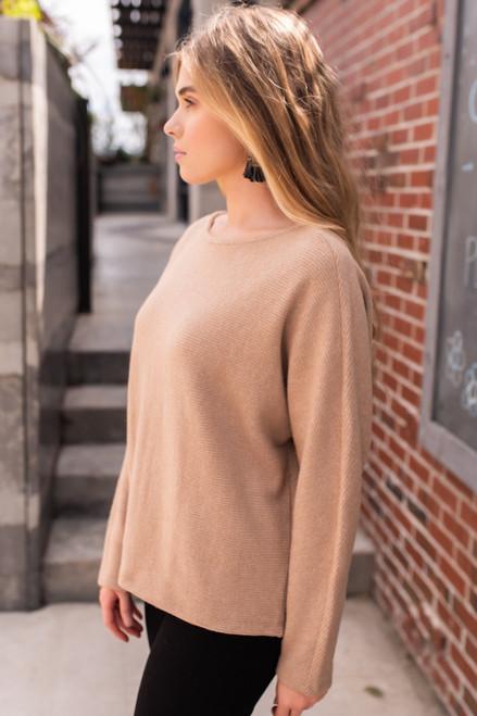 Brushed Ribbed Dolman Sweater - Mocha - FINAL SALE