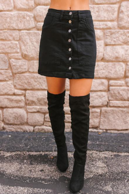 Button Down Denim Skirt - Black