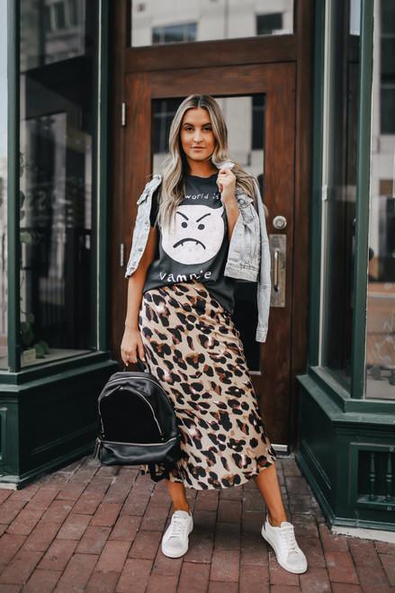 Leopard Satin Midi Skirt - Taupe Multi