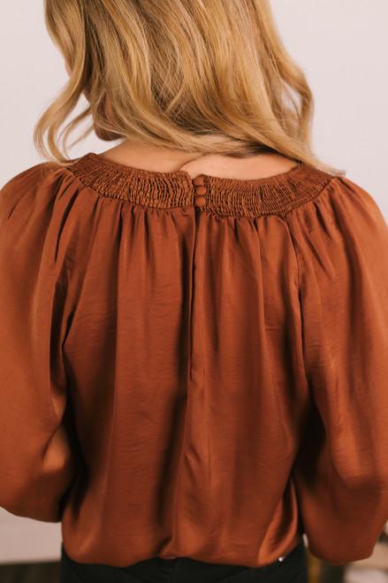 Square Neck Satin Bodysuit - Copper