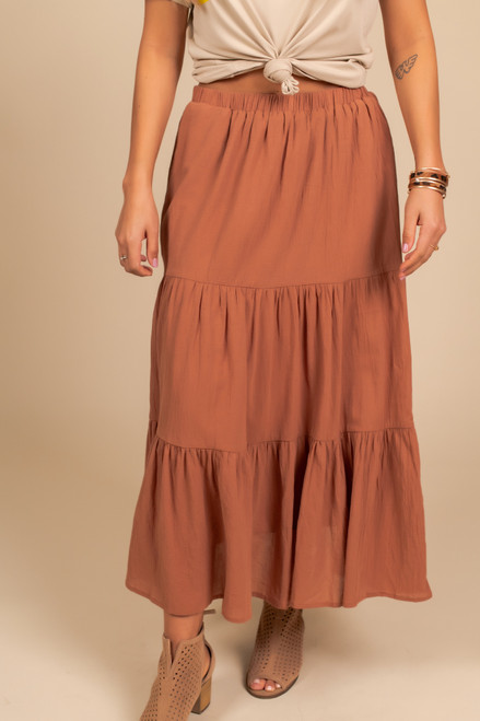 Tiered Flare Midi Skirt - Brick