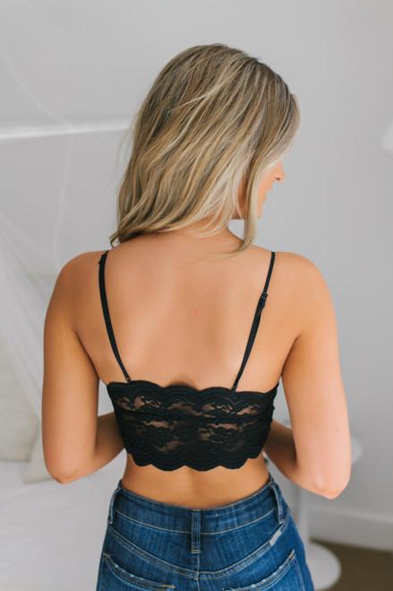 Scalloped Longline Bralette - Black