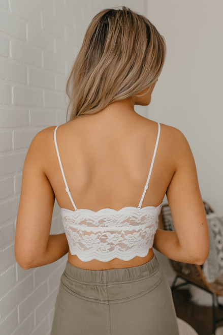 Scalloped Longline Bralette - Ivory - FINAL SALE