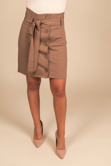 Tie Waist Button Down Skirt - Mocha