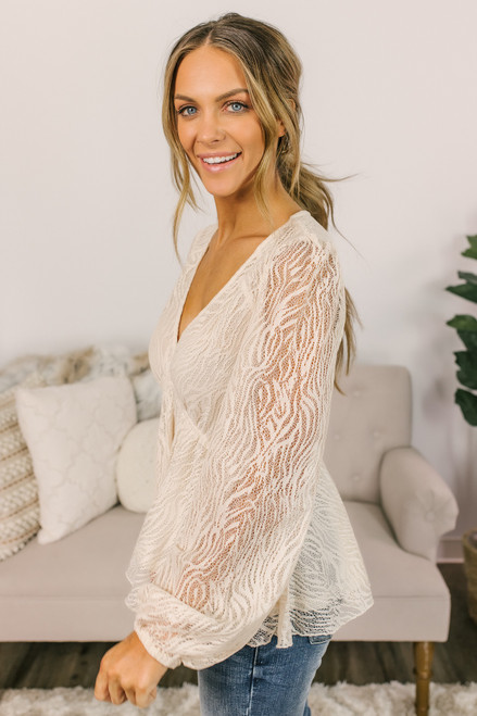 V-Neck Lace Blouse - Natural