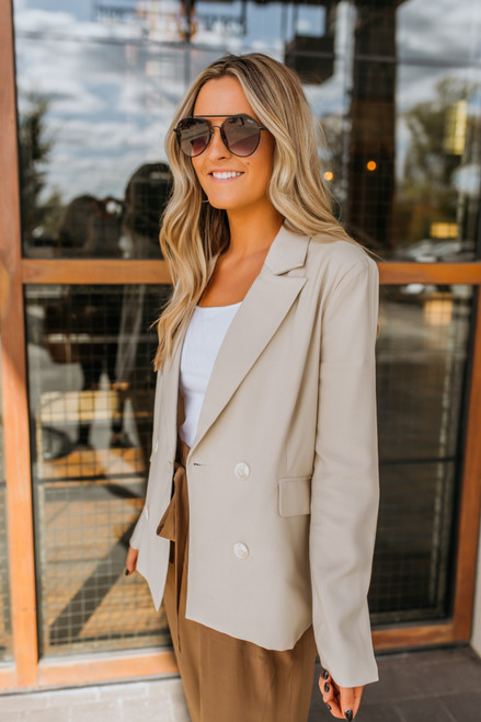 Double Breasted Blazer - Taupe