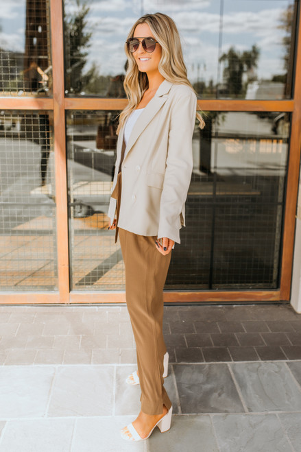 Double Breasted Blazer - Taupe - FINAL SALE