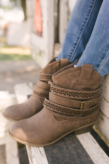 Not Rated Sunami Buckle Western Booties - Taupe - FINAL SALE