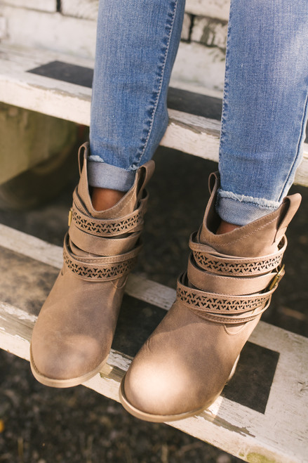 Not Rated Sunami Buckle Western Booties - Taupe