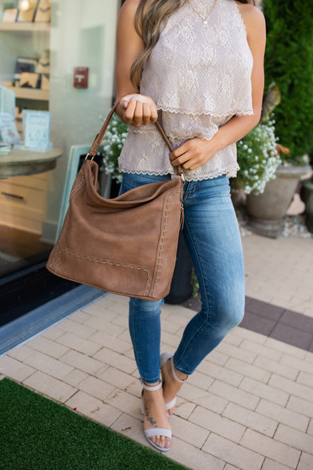 Distressed Stitched Hobo Bag - Tan