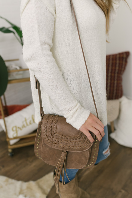 Faux Leather Studded Tassel Crossbody - Taupe - FINAL SALE