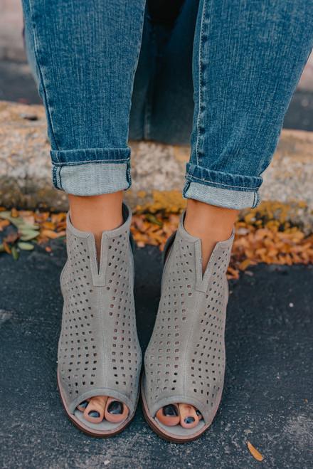 Dirty Laundry Tessa Peep Toe Booties - Grey