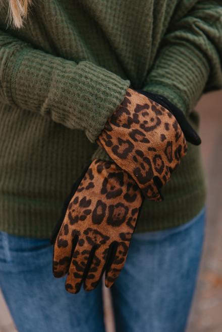 Contrast Leopard Gloves - Brown/Black