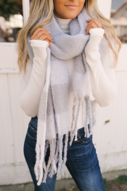 Checkered Cozy Oblong Scarf - Chambray