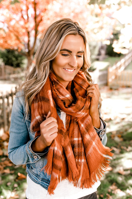 Brushed Plaid Oblong Scarf - Rust  - FINAL SALE