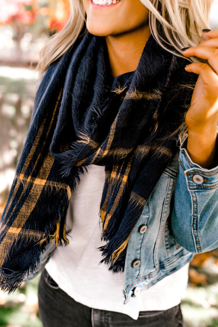 Brushed Plaid Oblong Scarf - Navy - FINAL SALE