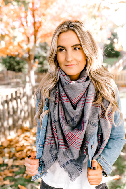 Plaid Blanket Scarf - Grey - FINAL SALE