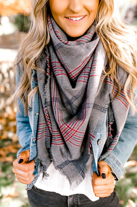 Plaid Blanket Scarf - Grey