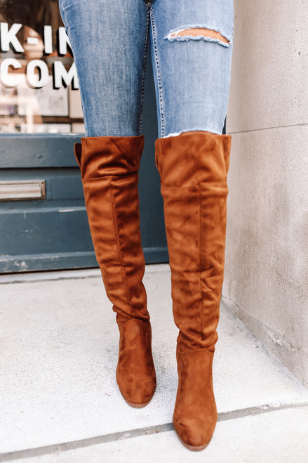 Faux Suede Thigh High Boots - Chestnut