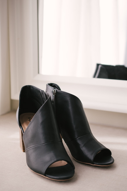 Faux Leather D'Orsay Peep Toe Booties - Black