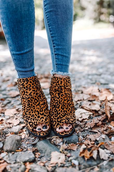 Leopard Peep Toe Booties - Camel  Multi