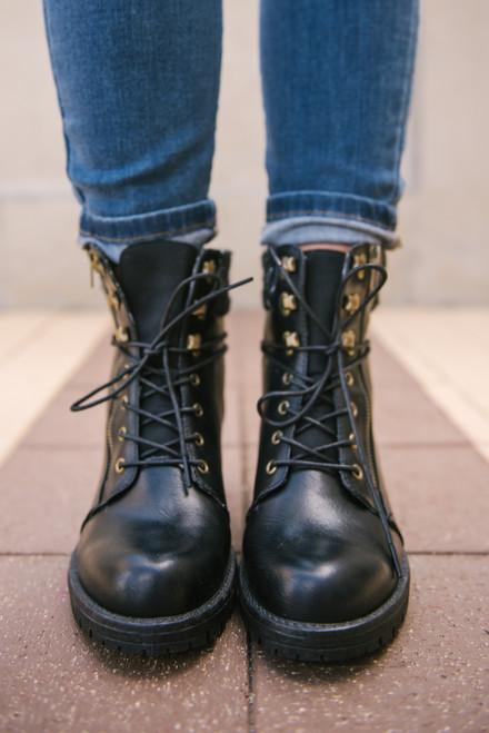 Lace Up Combat Sweater Boots - Black  - FINAL SALE