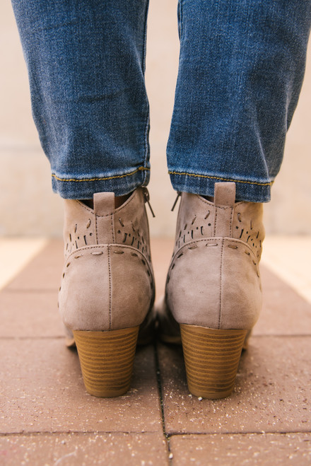 Jolene Perforated Booties - Taupe  - FINAL SALE