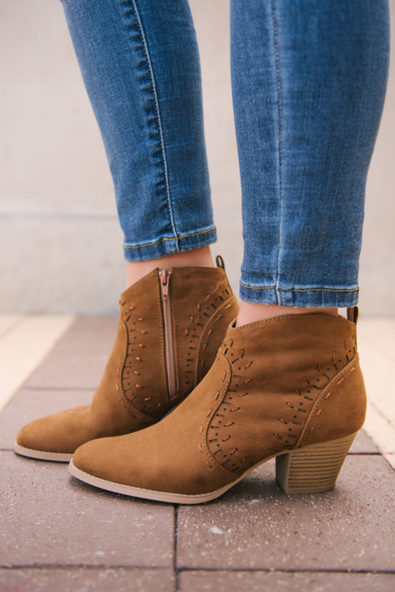 Jolene Perforated Booties - Maple - FINAL SALE