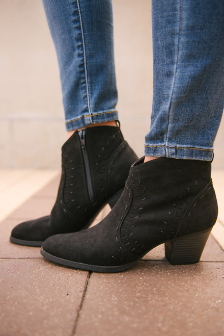 Jolene Perforated Booties - Black - FINAL SALE