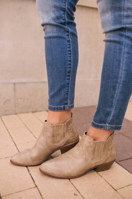 Change of Seasons Distressed Booties - Taupe  - FINAL SALE