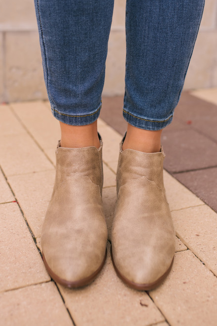 Change of Seasons Distressed Booties - Taupe