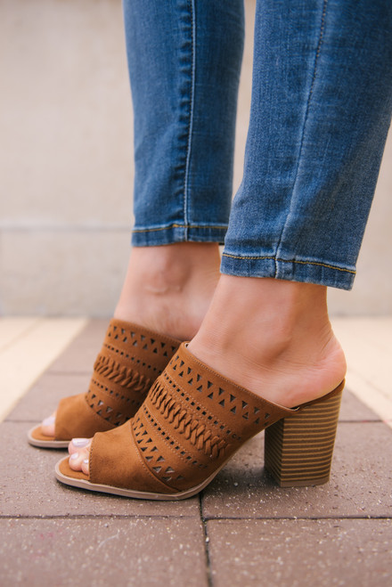 Perforated Peep Toe Mules - Chestnut - FINAL SALE